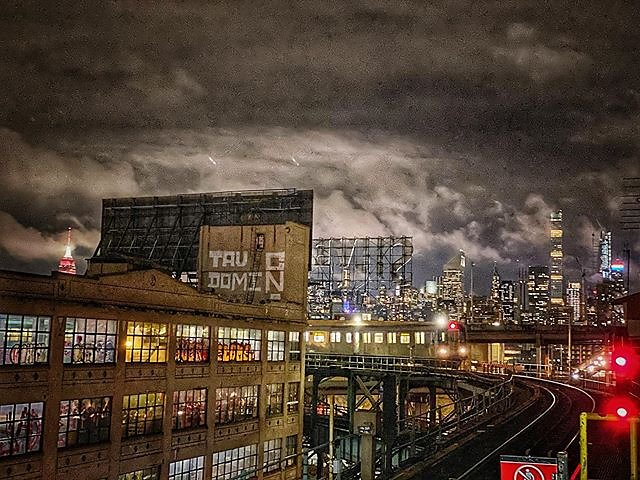 A cloudy night in New York City.